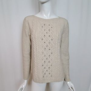 Talbots Cream Oatmeal Jeweled Cable Knit Sweater